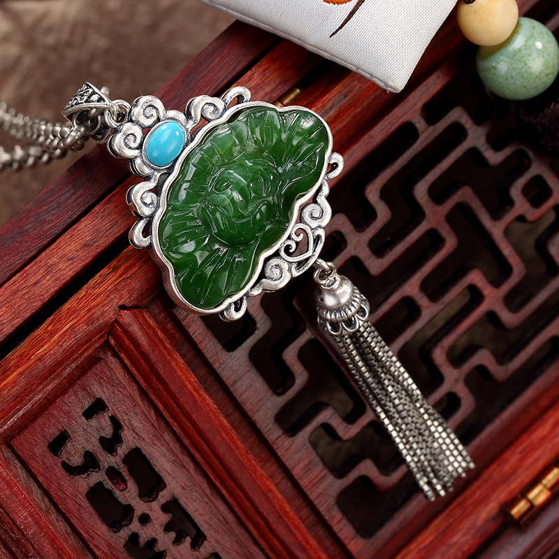 silver restoring ancient ways is hetian jade inlay turquoise tassel women wholesale high-grade sweater chain pendant