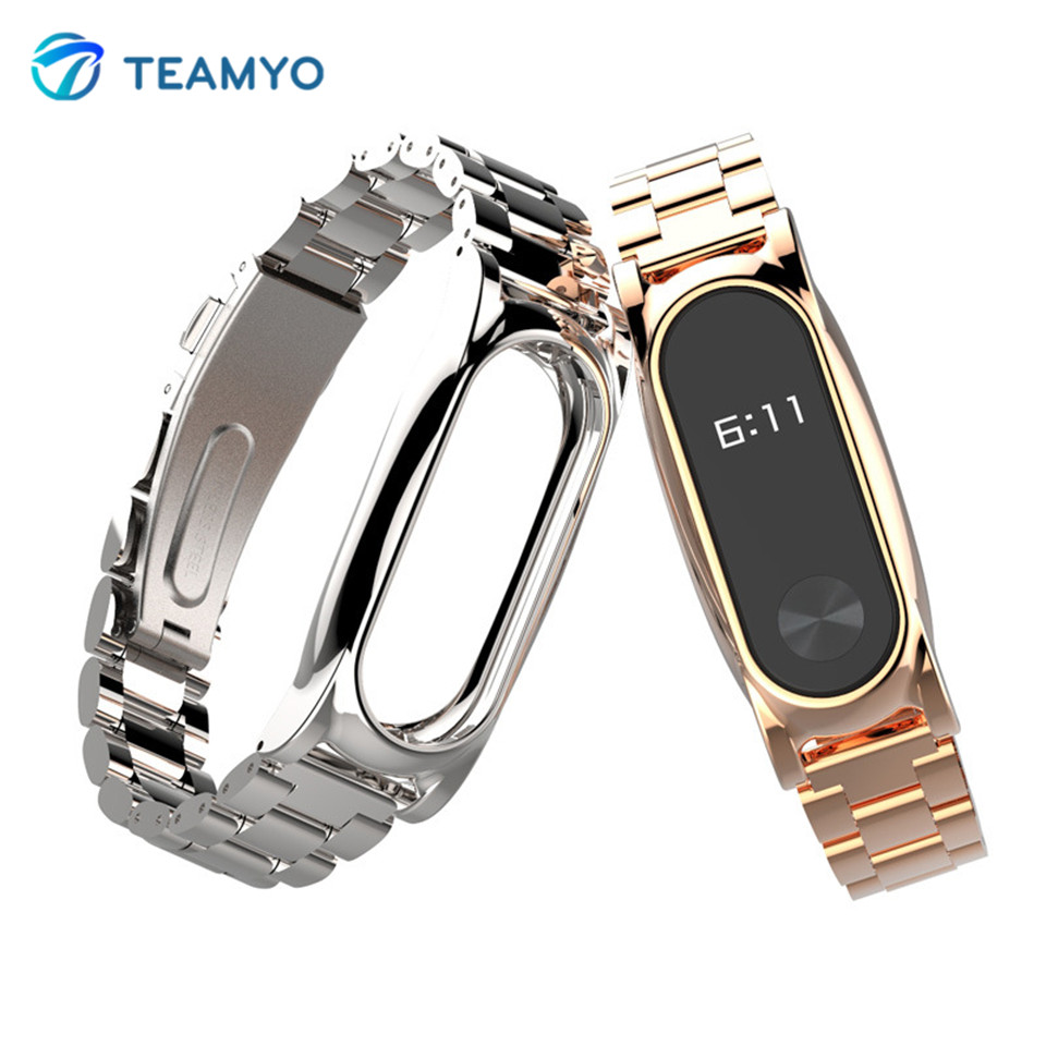 TEAMYO Xiaomi Mi band 2 Strap Screwless Metal Wrist Strap Replacement for xiomi miband 2 Smart Bracelet Wristbands Accessory