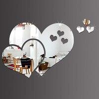 37X57 센치메터 3D 사랑 심장 거울 벽 스티커 자체 접착 거울 스티커 욕실 방 장식