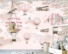 Купить с кэшбэком beibehang Customize 7 photo wallpaper mural personality Pink cartoon hot air balloon children's wall decorative wall wallpaper