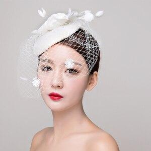 Image 5 - הכלה סטודיו תמונה כיסוי ראש תחרה פשתן רדוד לבן כובע שיער קישוטי חתונה שמלת אביזרי נשים fasinator כובע שיער קליפ