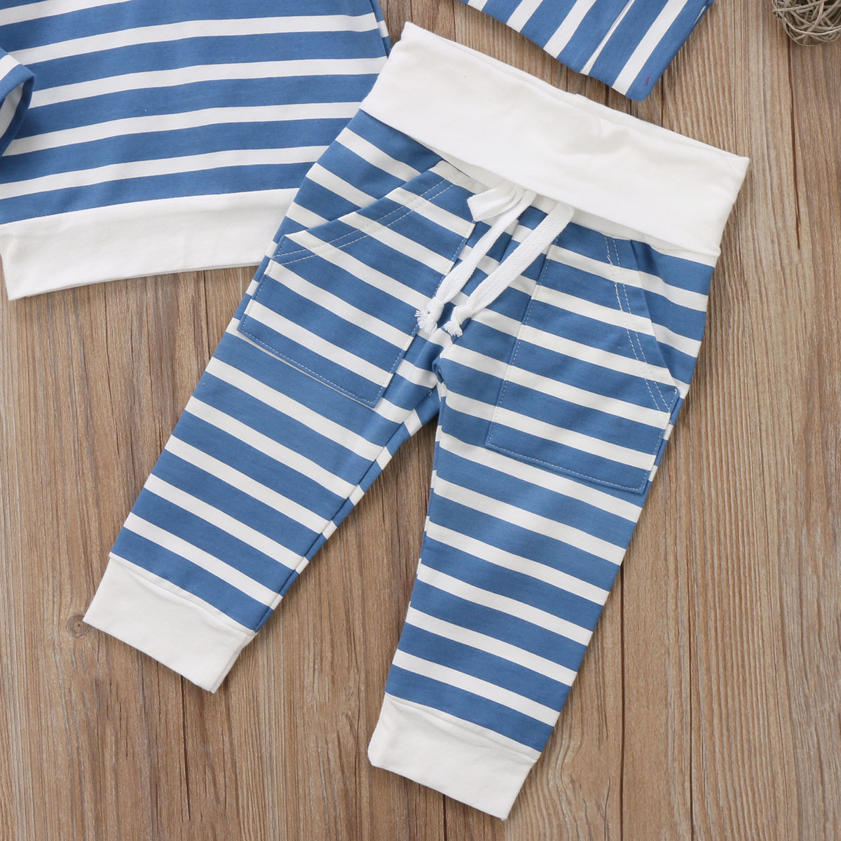 Infant Newborn Baby Boys Girls Casual Clothes Set Striped Long Sleeves Hooded Top+Long Pants Clothes Set 0-24M
