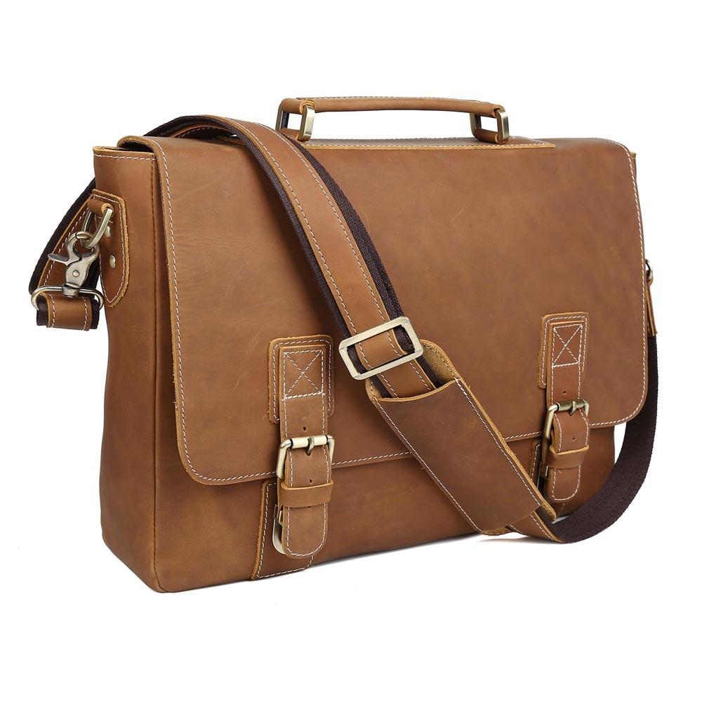 TIDING Genuine Leather 15.6 Laptop Messenger Bag Large Vintage Style Cross body Briefcase Shoulder Bag L8069 tiding genuine leather messenger shoulder bags briefcase mens casual style 13 laptop bag 1006