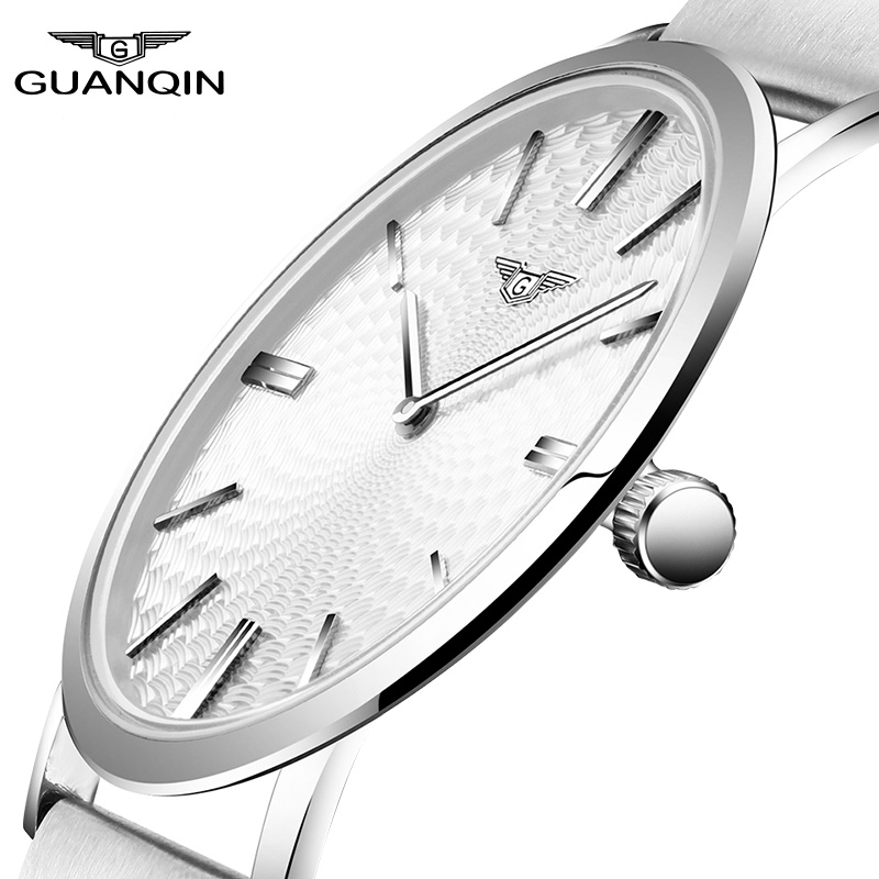 купить 2016 Men's Watches New Arrival Thin Dial Luxury Top Brand GUANQIN Waterproof Leather Band Sports Clock Male Quartz Wrist Watches по цене 1918.21 рублей