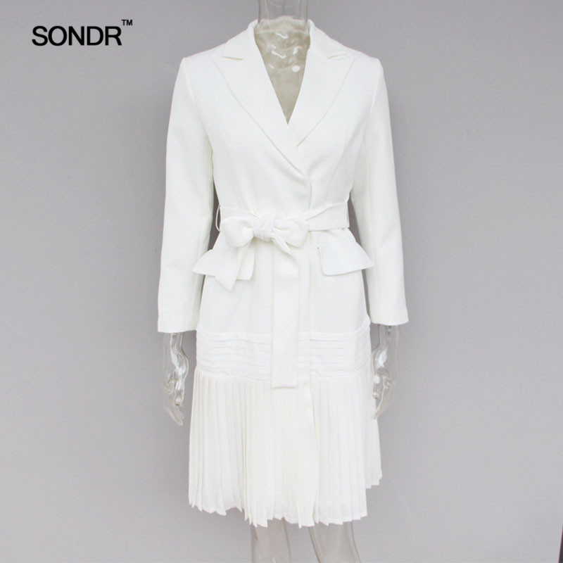 SONDR 2019 Spring Summer Trench Coats Female Long Sleeve Bandage Pleated Hem Elegant Windbreaker For Women Fashion Tide