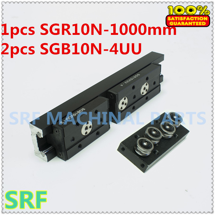 28mm width Rectangle wheel Linear Guide Rail 1pcs SGR10N Length=1000mm +2pcs SGB10N-4UU four wheel slide block for CNC part