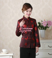 2014 NEW Free Shipping Chinese Tradition Ladies Tang Suit Silk Satin Jacket V Neck Coat Flower