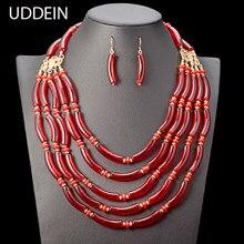 684a2e5e5765 Conjunto de collar indio de boda nigeriano UDDEIN collar de cuentas de  múltiples capas para mujer bohemio declaración gargantill.