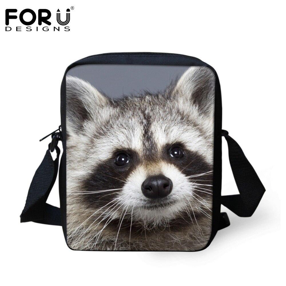FORUDESIGNS Cute Animal Print School Bags For Boys Girls Raccoon Schoolbag Children Book Bag Mini Mochila Kids Kindergarten Bag
