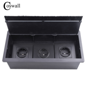 Image 1 - COSWALL Black Triple EU Power Outlet Table Office Socket With Dustproof Brush Suitable For Any 86 Type Wall Socket or Switches