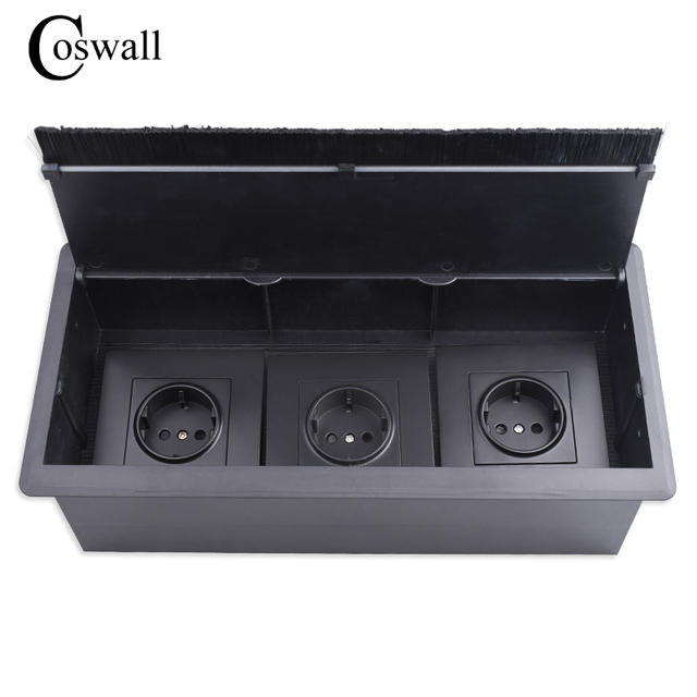 COSWALL Black Triple EU Power Outlet Table Office Socket With Dustproof Brush Suitable For Any 86 Type Wall Socket or Switches