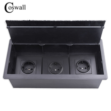COSWALL שחור לשלושה האיחוד האירופי כוח לשקע שולחן משרד שקע עם Dustproof מברשת מתאים לכל 86 סוג קיר שקע או מתגים