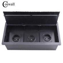 COSWALL toma de corriente Triple EU para mesa y oficina, toma de corriente negra con cepillo a prueba de polvo, adecuada para cualquier toma de pared o interruptores de 86 tipos