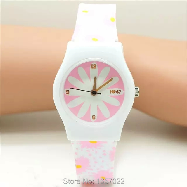 Fashion Women Lovely Pink Flower Design Wristwatch Promotion Student Girl High Quality Quartz Watch With Japan Movement