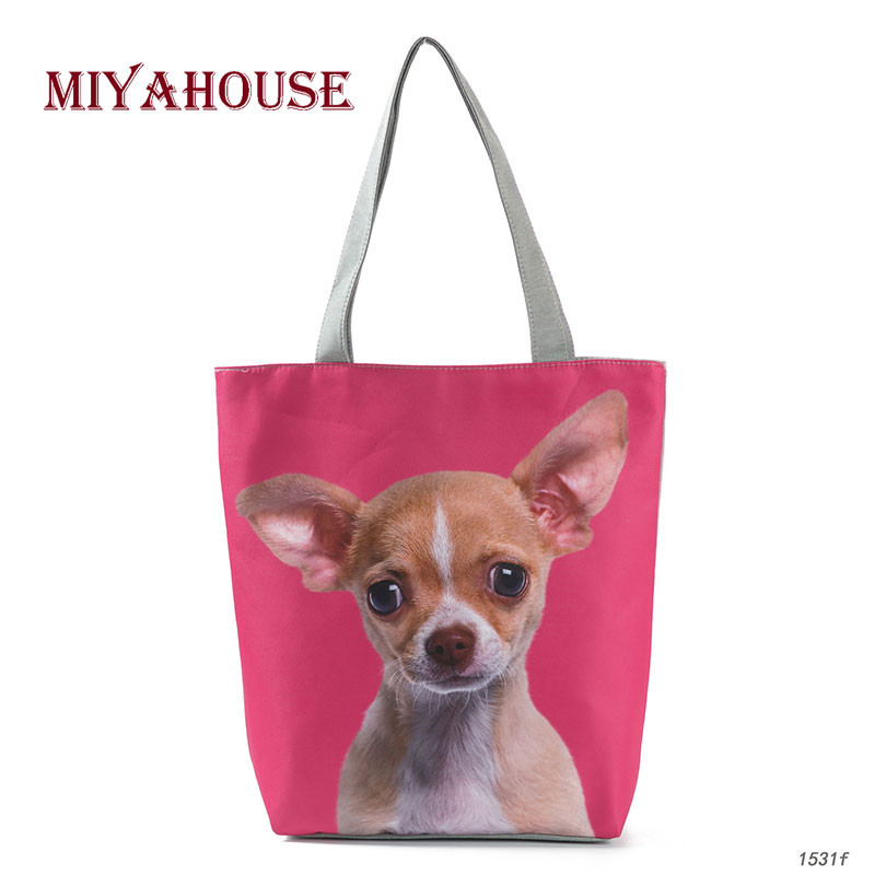 3D Animal Printed Shoulder Bag Canvas Tote Handbag For Teenage Girls Cute Dog Summer Beach Bag Lady