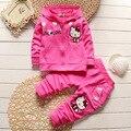 Nuevo 2017 Otoño de los niños pequeños bebés niños de dibujos animados de algodón con capucha deportes racksuit establece chándales set for girls 1 2 4 años de edad