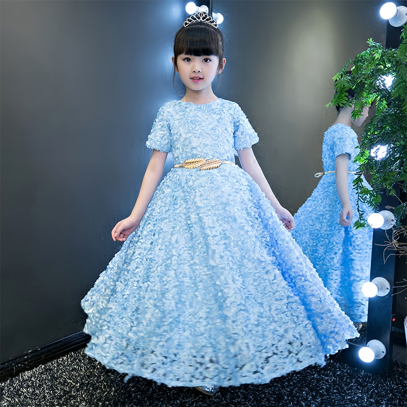 2017 New Girls Birthday Wedding Party Princess Flowers Dresses Kids Blue Red Tutu Mesh Pageant Children Costume Dress Clothes