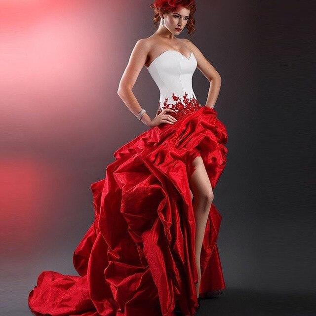 Викторианский Готический Маскарад Белый И Красный кружева Свадебное Платье Высокий Низкий Свадебное Платье Оборками Аппликация vestido де noiva vermelho