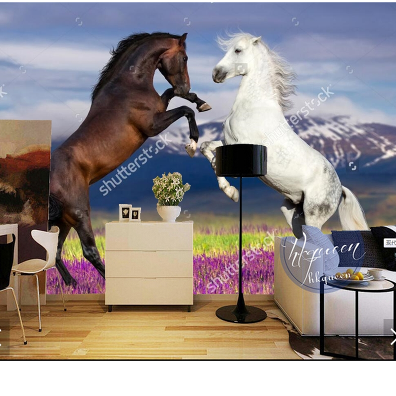 Custom photo wallpaper,Two horse r,modern murals for the living room bedroom wall background wall waterproof wallpaper custom baby wallpaper snow white and the seven dwarfs bedroom for the children s room mural backdrop stereoscopic 3d