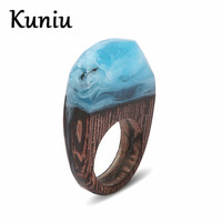 Fashion Retro Lines Wood Rings Women Mens Wedding Party Jewelry Blue Resin Ring Dropshipping