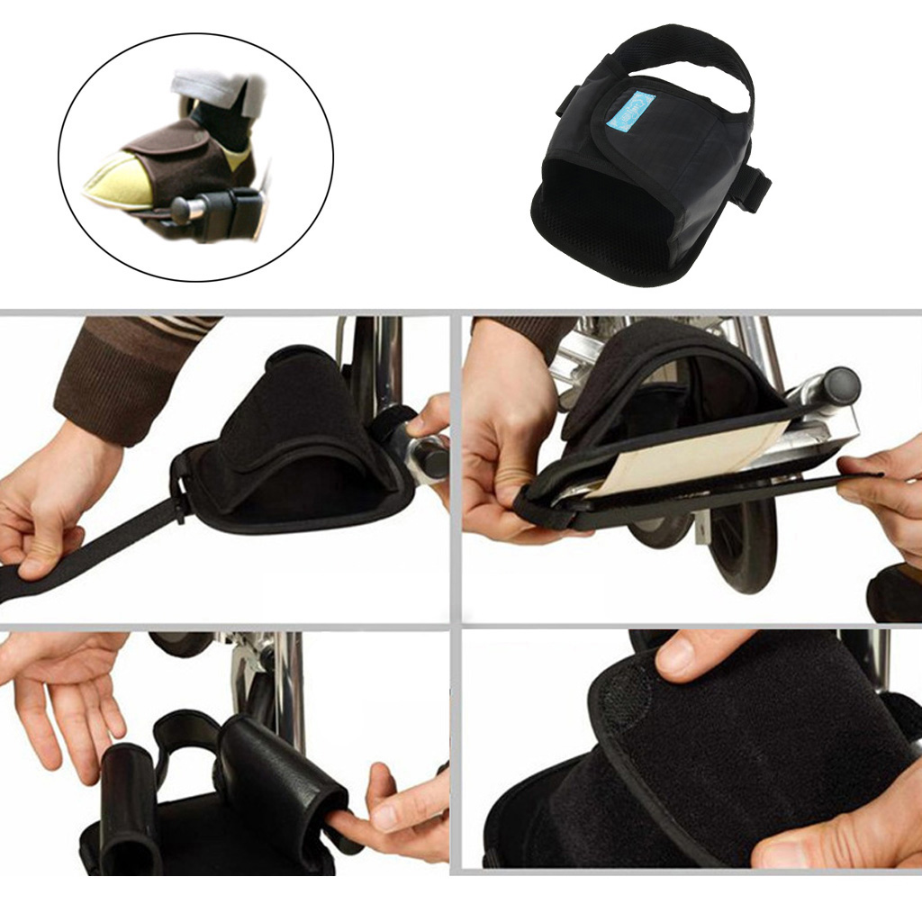 1 Piece Elderly Wheelchair Pedals Foot Strap Protector Pad Breathable Footrests Cushion Wraps Toe Clip Support Belt
