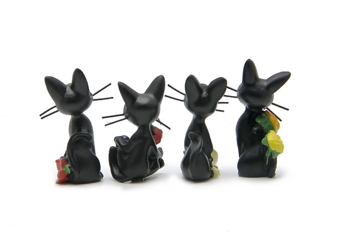 الراتنج اليابان نمط الأسود القط Jiji هدية صندوق الرياح الدقات مشاهد تماثيل صغيرة على شكل حيوانات سطح المكتب بوعاء حديقة الديكور الحرف المنمنمات