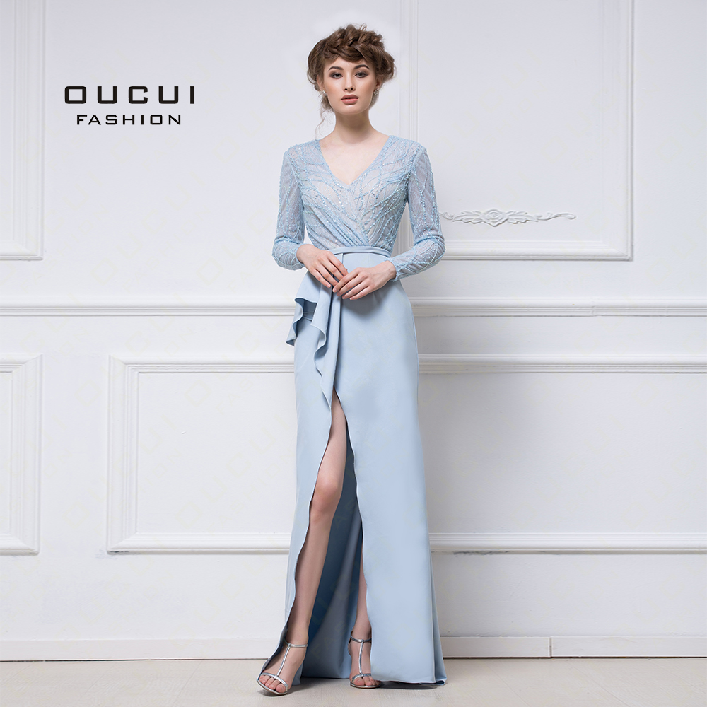 Real Photos Long Sleeves lace Evening Gowns 2019 Full Beaded Handmade Elegant High Split Sexy Formal