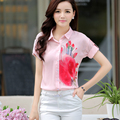 2017 New Arrival Women Chiffon Short-sleeve Shirts Spring Casual Ladies Fashion Personal Tops Female Tee Color Pink Size 2XL
