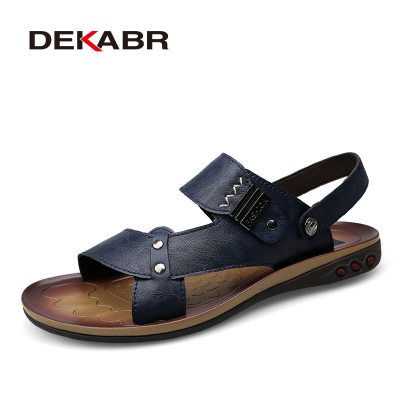 DEKABR Genuine Leather Sandals 2018 Fashion Summer Beach Shoes Flip Flops Big Size 37~47 Men Slipper Breathable Casual Shoes Men creative 3d print designer shoes men s beach flip flops casual flat sandals zapatos mujer fashion sandals slipper for men retail