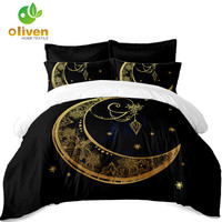 Bohemia Black Bedding Set Golden Elephant Moon Mandala Duvet Cover Set India Style Bedding Pillowcase Home Decor D49