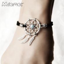 MIAMOR 6 цветов Мини браслет из Ловца снов ручной работы Ловец снов сеть с металлическим пером подарок для влюбленных 1 шт AMOR018