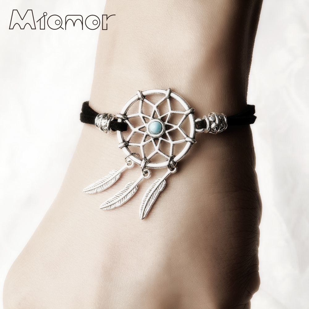 MIAMOR 12 Colors Handmade Mini Dreamcatcher Bracelet With Alloy Feather Dream Catcher DIY Kit Jewelry Gift For Lovers AMOR018