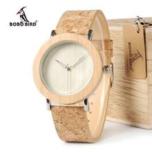 BOBO BIRD WE21 Wooden Watch Metal Pine Wood Case Grain Leather Band Watches for Men Women