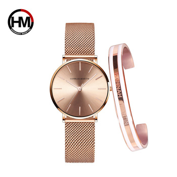 Creative Design Waterproof Rose Gold watch and bangle