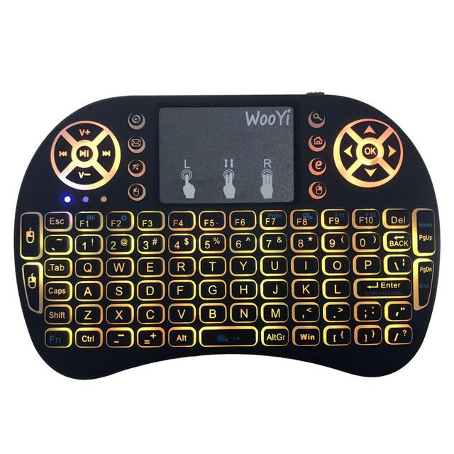 7 color backlit i8 Mini Wireless Keyboard 2.4ghz English Russian 3 colour Air Mouse with Touchpad Remote Control Android TV Box 3