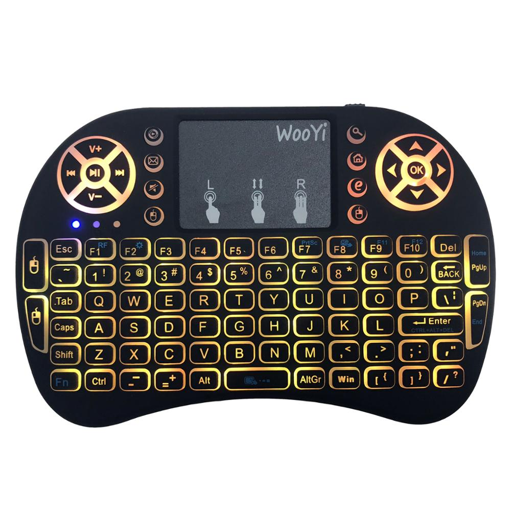 Image 4 - 7 color backlit i8 Mini Wireless Keyboard 2.4ghz English Russian 3 colour Air Mouse with Touchpad Remote Control Android TV Box-in Keyboards from Computer & Office