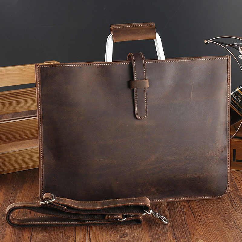 26c1a3802 Data Portfolio work bag Crazy Horse Cow Real Leather Briefcase Men's Single Shoulder  Bag Business Attache