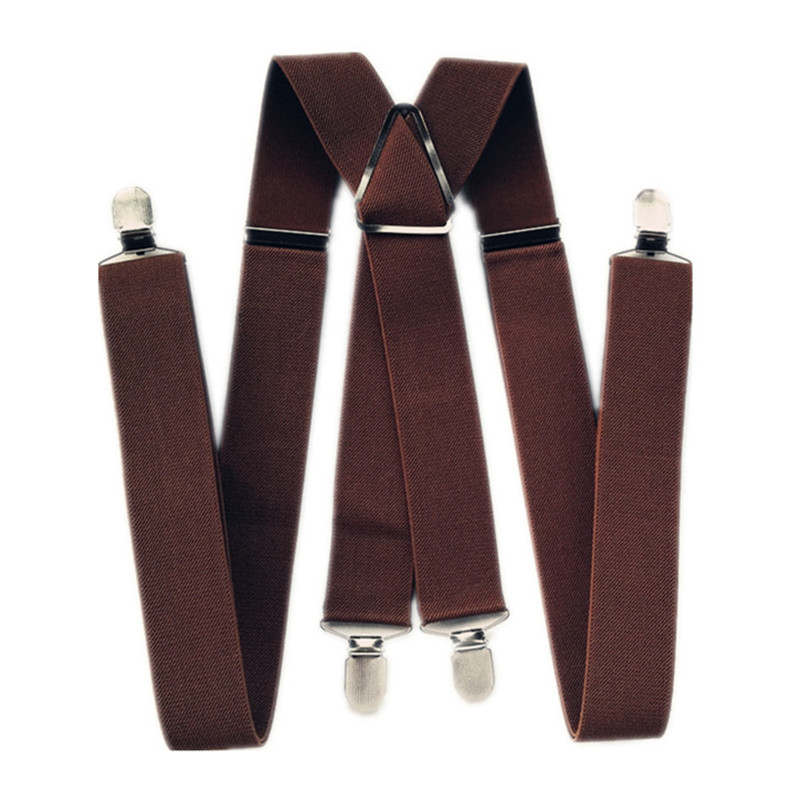 BD054-4 Clips Man Suspenders 47 55 Inch Adjustable Elastic Strap Coffee Brown Color X Back Pants Braces Suspender Women