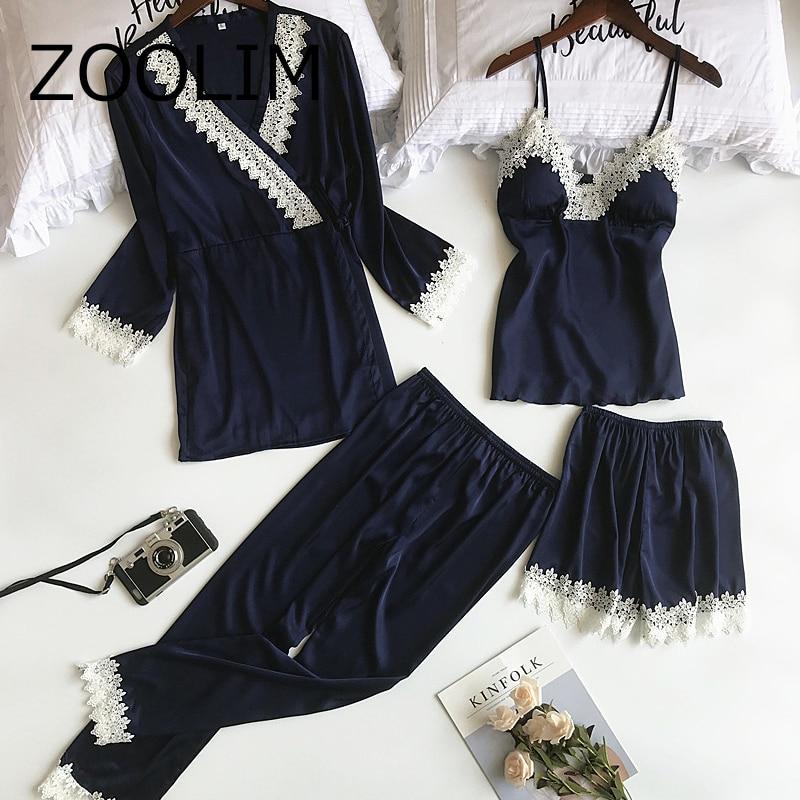 2018 Autumn Winter Women   Pajamas     Sets   4 Pieces Fashion Spaghetti Strap Satin Sleepwear Female Silk Home Wear Sexy Lace Pijama