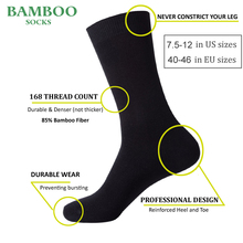 Match-Up  Men Bamboo Black Socks Breathable Anti-Bacterial High Quality Guarantee Business Socks (6 Pairs/Lot)