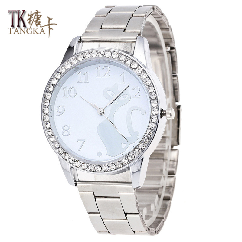 Fashion Luxury Brand crystal cat Wristwatches Women Stainless Steel Band Women Dress Watches Women Quartz-Watch Relogio Feminino new brand women s genuine watches high grade swiss lady s watch waterproof fashionable steel band quartz wristwatches