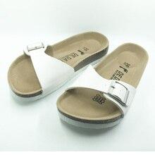 Más el tamaño 5-11 del estilo del verano Zapatos Mujer Sandalias Flip Flop zapatillas de Corcho de calidad Superior Hebilla de Zapatillas de Moda Casual envío gratis
