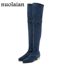 Womens Winter Autumn Fashion Knee High Leg Long Boots Woman Faux Suede Leather Black Over Knee Snow Warm Shoes Winter Botas