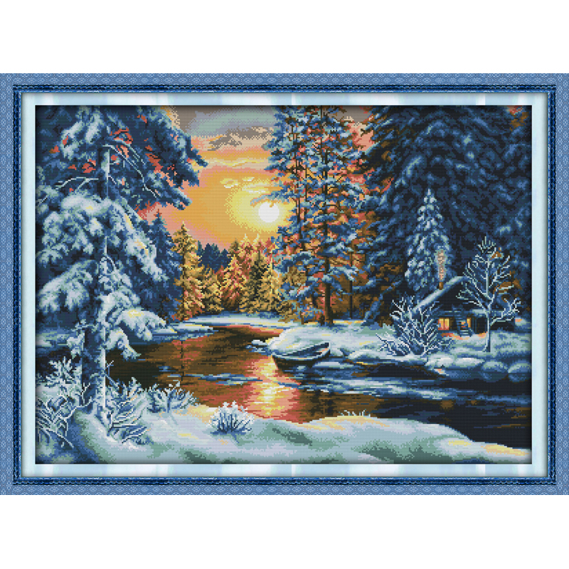 Everlasting love Sunset snow Chinese cross stitch kits Ecological cotton stamped printed 11CT DIY new year decorations for home