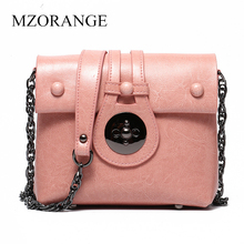 MZORANGE Fashion Women Small Shoulder Bags Genuine Leather Messenger Bag Womens Chain Strap Pink Crossbody Real