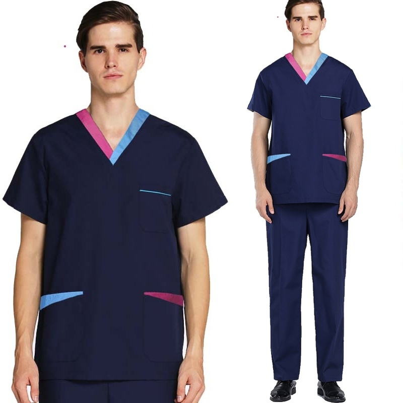 Men's Fashion Medical Scrubs (You Can Choose A Whole Set Or Only A Top Or A Pair Of Pants) Color Blocking Design