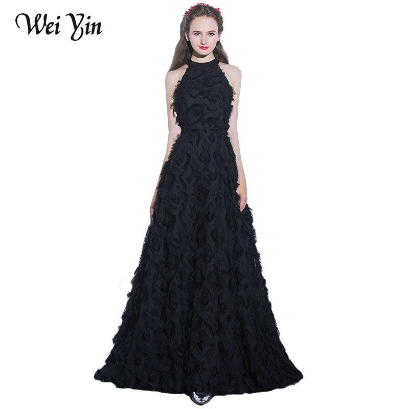 WeiYin Elegante Nero Lungo Abito Da Sera Sexy Halter Piuma Pavimento-lunghezza Prom Abito Del Partito Cusotm Abiti Formali Vestido De Festa