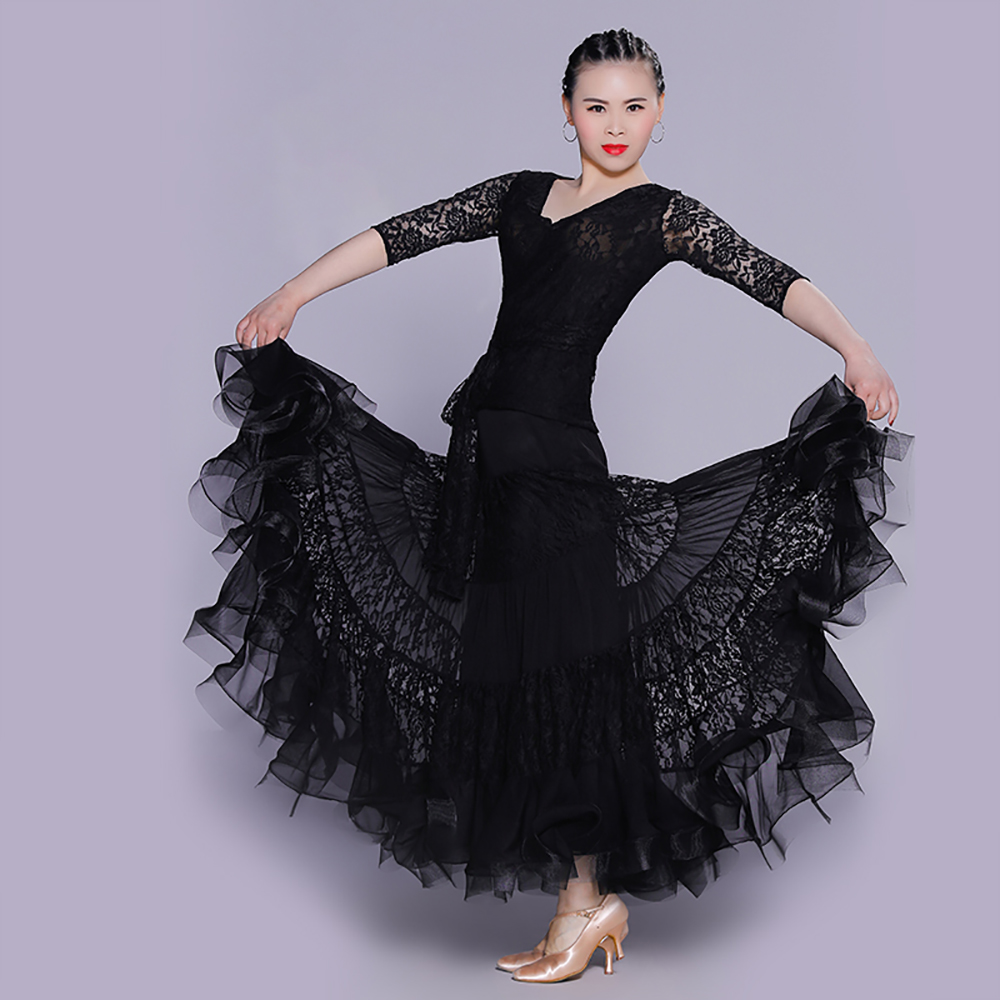 Sexy Lady Latin Dancing Costumes Top&Skirt Nice Quality Lace Women Adult Professional Jazz Suit Tango Ballroom Dress DW0037