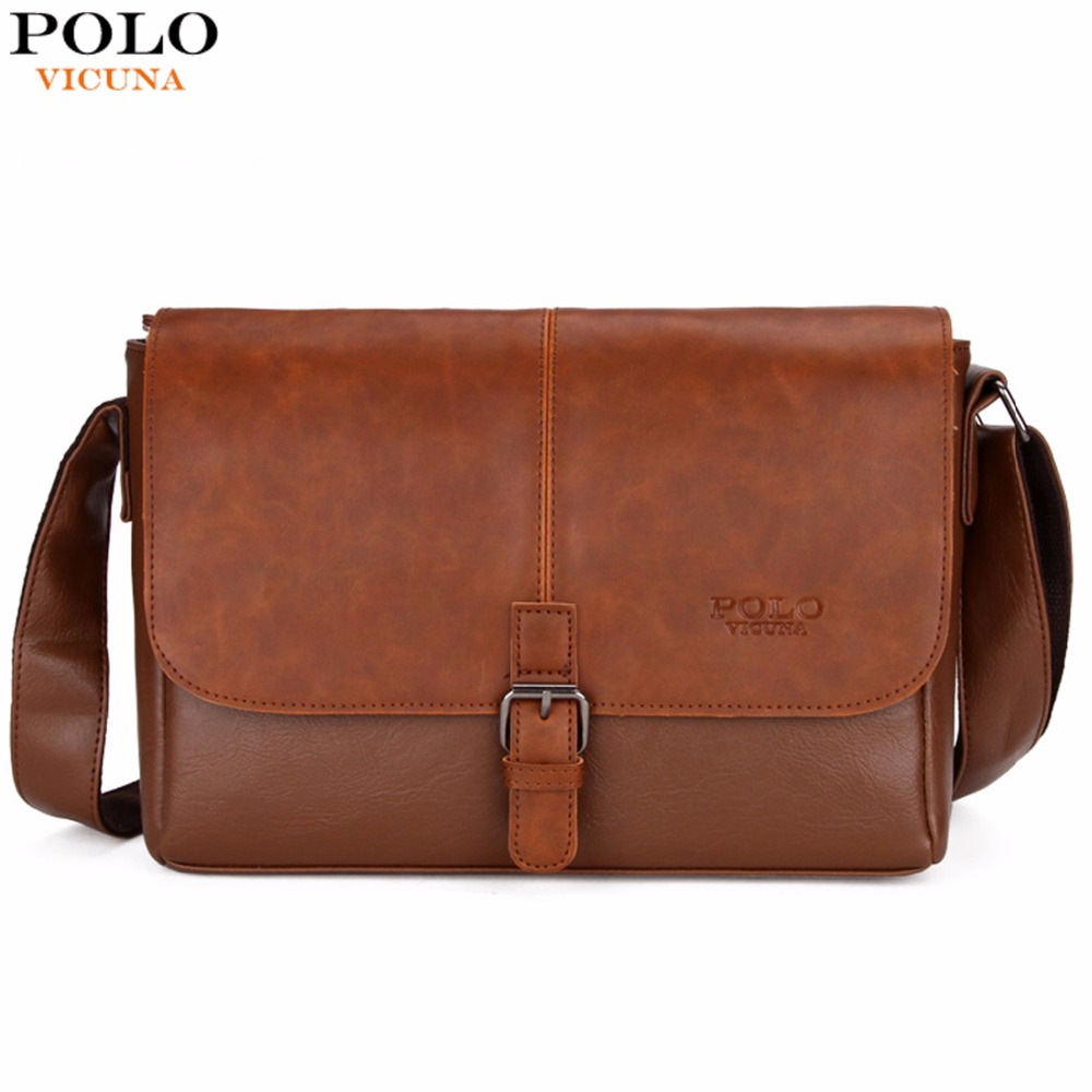 VICUNA POLO Famous Brand Men's Shoulder Bag Magnetic Open Casual Trendy Men Cros