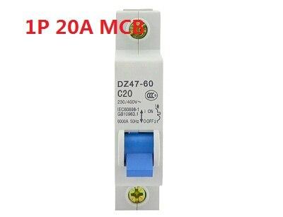 1P 20A 230//400v~ 50HZ//60HZ Mini Circuit breaker MCB C45 C TYPE